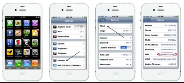 how to check IMEI of iPhone 4