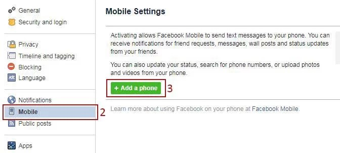 facebook add phone number setting