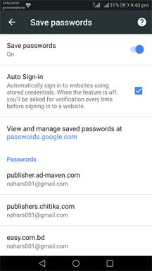 google chrome saved password lists