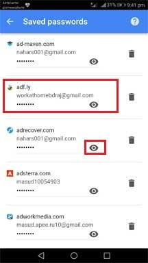 see google chrome saved password