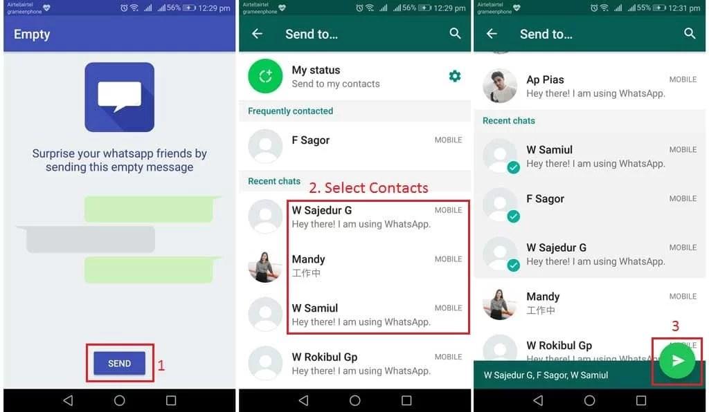 Send empty message on WhatsApp