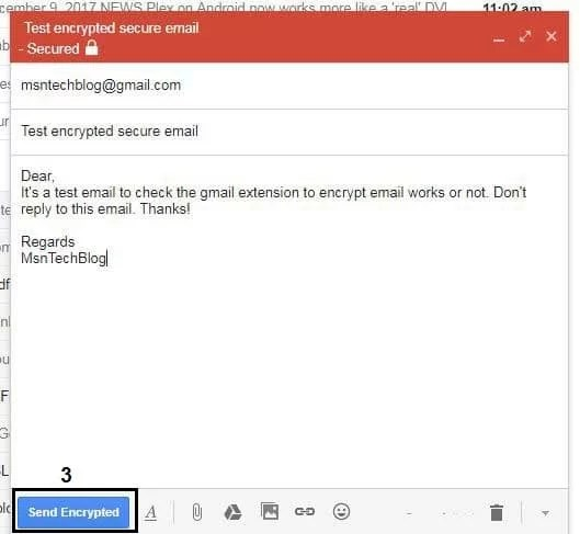 compose encrypted gmail email