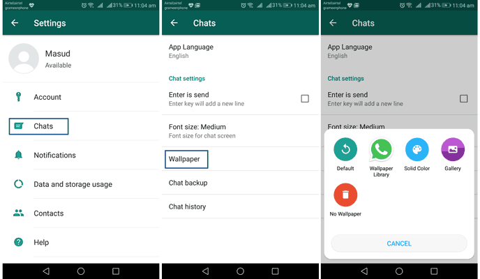change WhatsApp background on Android