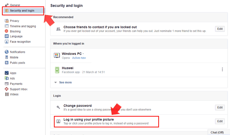 How to login Facebook with profile picture without using password