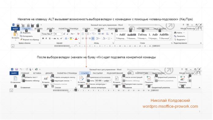 Клавиши подсказки на ленте Word