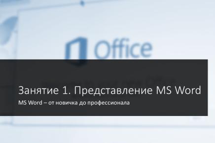 Занятие 1. Представление MS Word 2013/2016