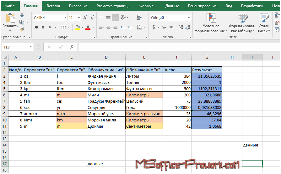 Перемещение по листу Excel