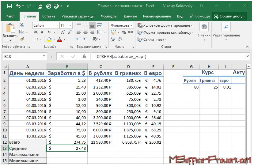 Вычисление среднего в Excel