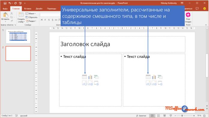 Добавление таблицы через заполнитель в слайде PowerPoint