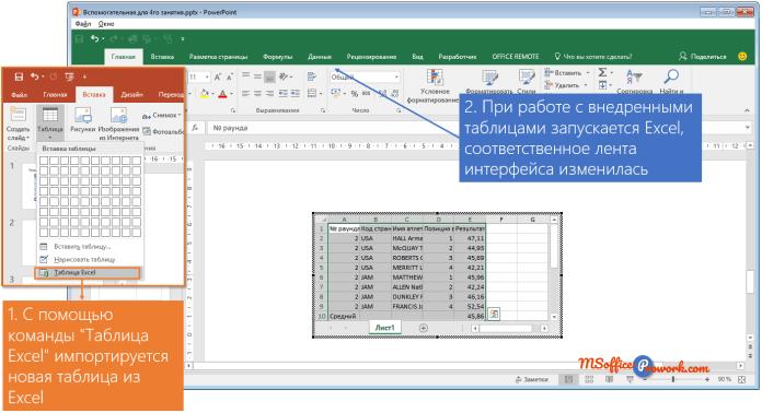 Импорт новой Excel таблицы на слайд PowerPoint