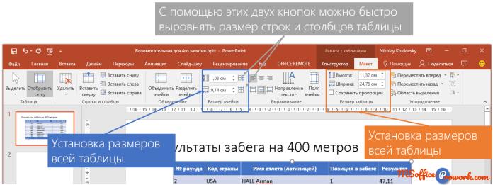 Настройка размеров строк, столбцов и таблицы