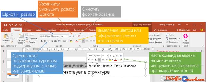 Инструменты PowerPoint для форматирования текста