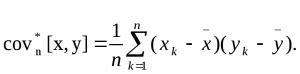 Формула расчета ковариации