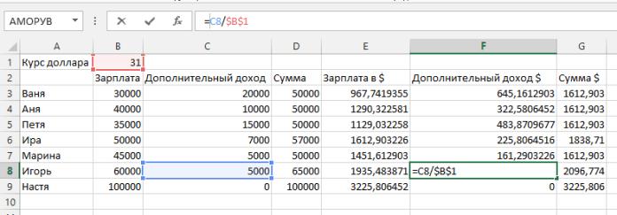 Ссылки MS Excel