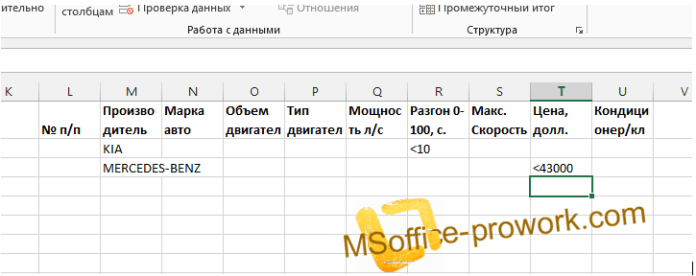 Диапазон условий расширенного фильтра MS Excel