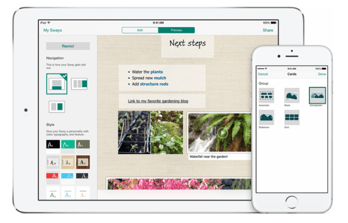 Sway для iPhone и iPad