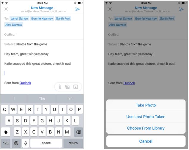 Outlook для iOS добавление вложений