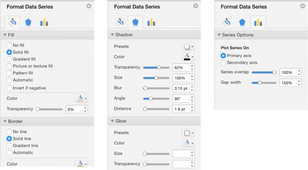 Панель форматирования в Excel для Mac