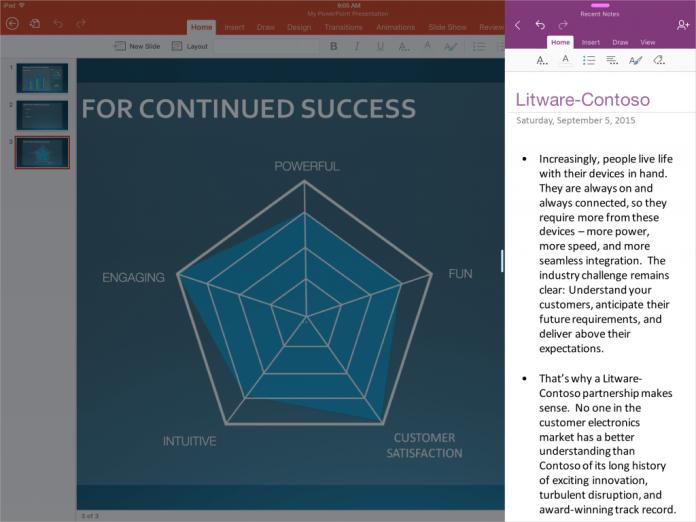 Slide Over Office для iPad Pro