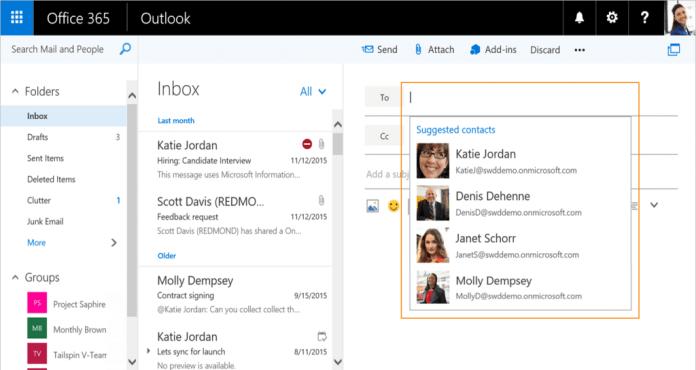 Подбор контактов в Outlook.com