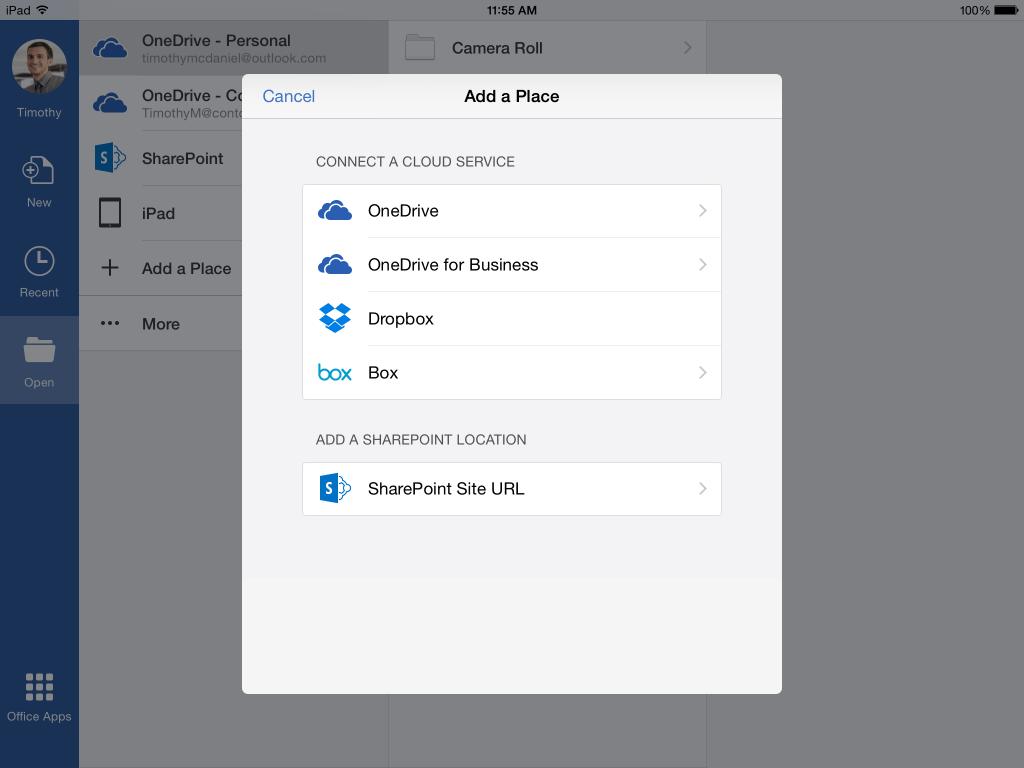 Интеграция сторонних хранилищ в Office для iPad iPhone