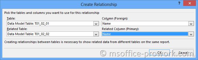 Создание связи между таблицами в диалоговом окне