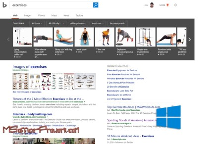 Фитнес в массы - новая возможность Bing позволит подобрать программу для занятий спортом