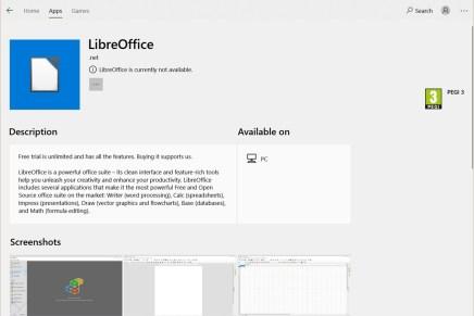 LibreOffice можно скачать с Microsoft Store