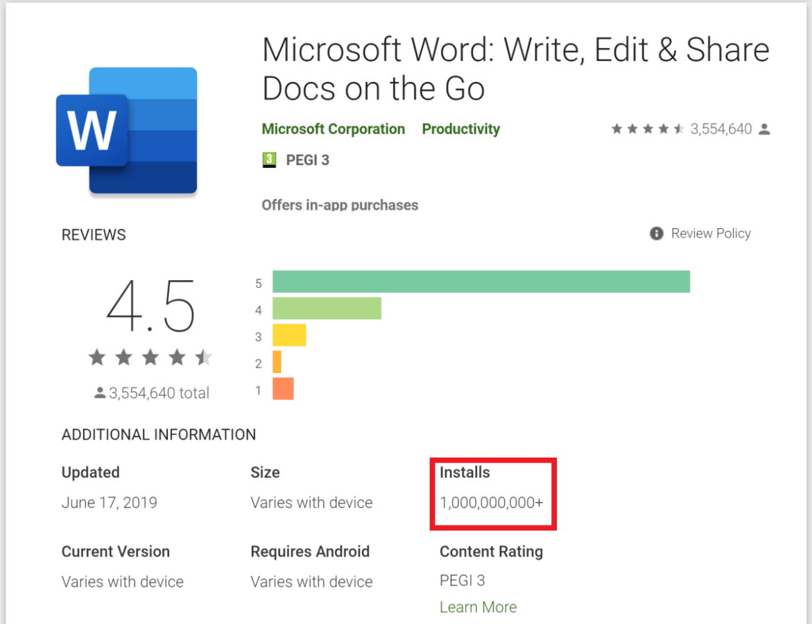 Количество установок Microsoft Word для Android перешагнуло отметку в 1 миллиард