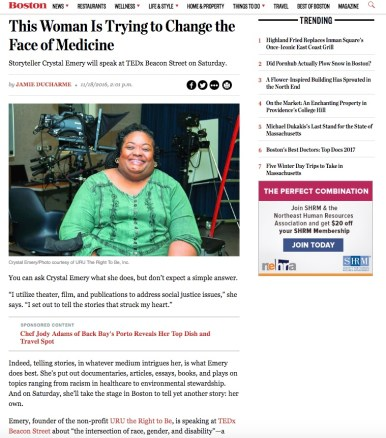 Boston Magazine; feature coverage of Black Women in Medicine