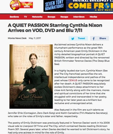 "Broadway World ""A Quiet Passion"""