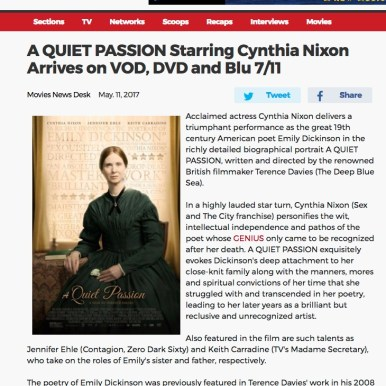 """Broadway World """"A Quiet Passion"""""""