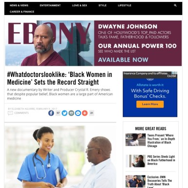 Ebony Magazine; feature coverage of Black Women in Medicine