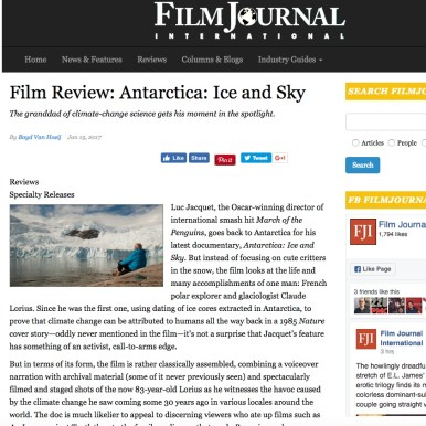 Film Journal; film review, Antarctica Ice & Sky