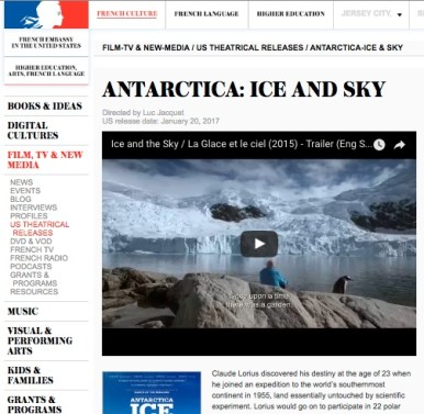 U.S. French Embassy; film coverage, Antarctica Ice & Sky