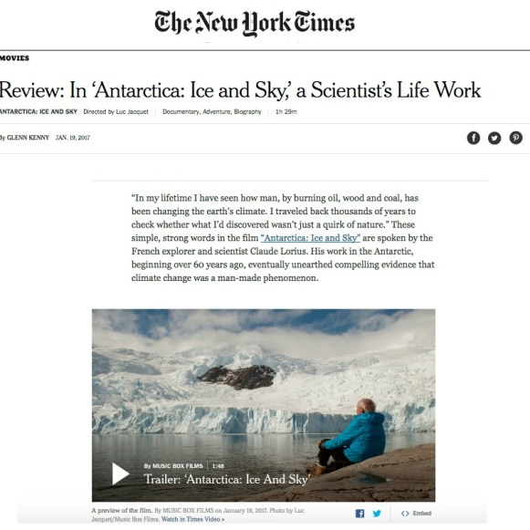 The New York Times; film review, Antarctica Ice & Sky