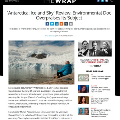 The Wrap; film review, Antarctica Ice & Sky
