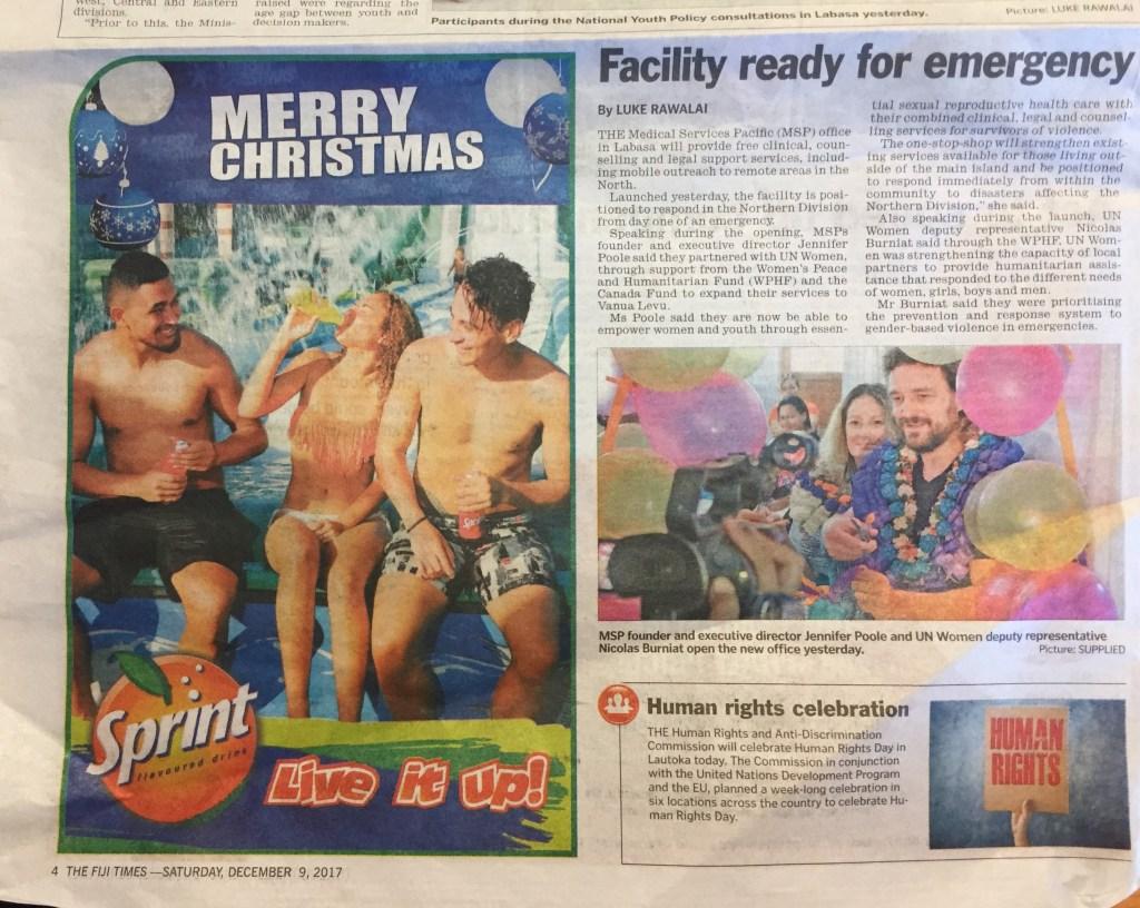MSP Launch_Fiji Times article 9 Dec 2017