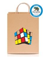 Пакет крафтовый, 45*15*35, 80 гр., крученые ручки с рисунком Кубик Рубика