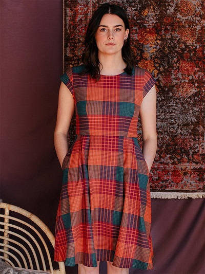 ethical plaid dress from Mata traders