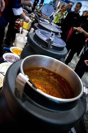 Mmm... vats of chili.
