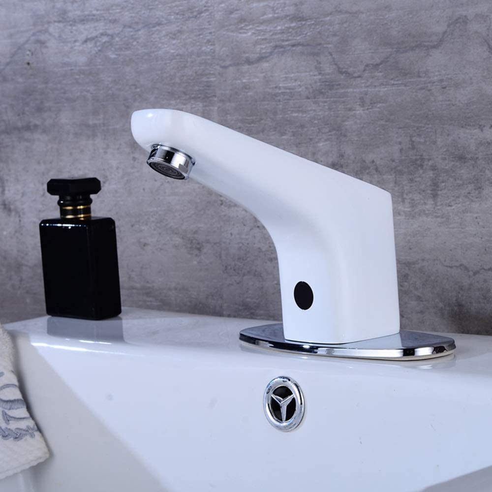 enjoyment modern white full copper automatic bathroom under counter basin induction faucet hotel shopping mall infrared intelligent non contact hand