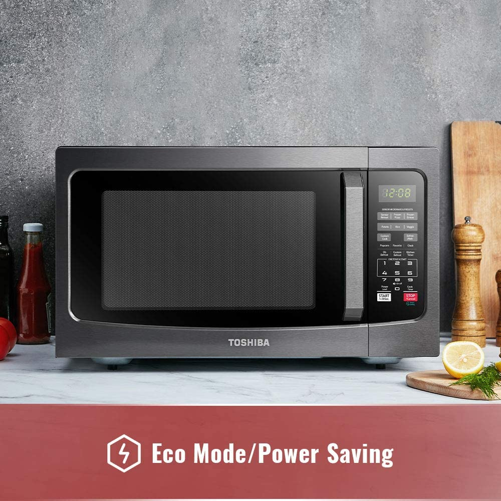 em131a5c bs microwave oven with smart sensor easy clean interior eco mode and sound on off 1 2 cu ft 1100w black stainless steel