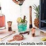 Bartender Kit 11 Piece Copper Bar Set Cocktail Shaker Set With Rustic Wood Stand Perfect