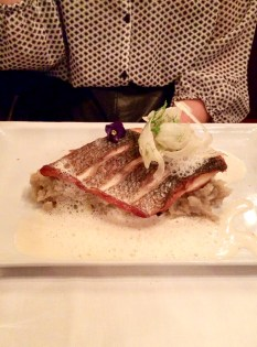 Sea bass from the South of France with leeks and vanilla emulsion.