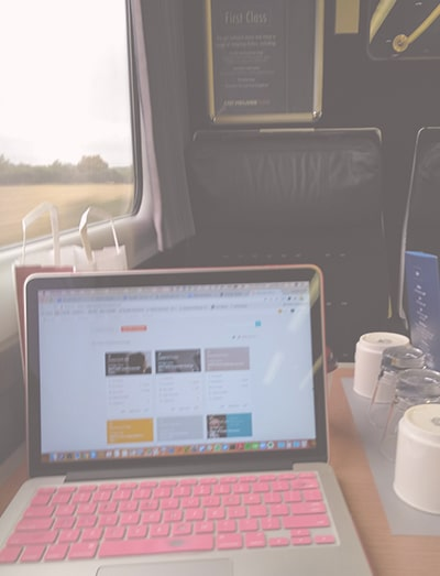 Ms Pollyanna | Working on laptop while on train