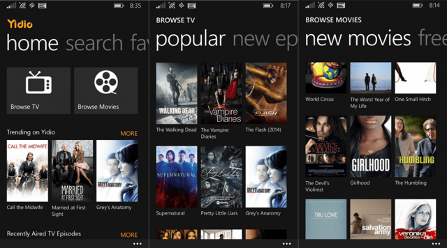 Yidio For Windows Phone Helps You Find Favorite TV Shows