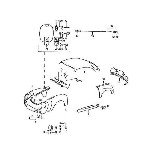 Porsche 356 Fender Fuel Tank Filler Neck 64450330300