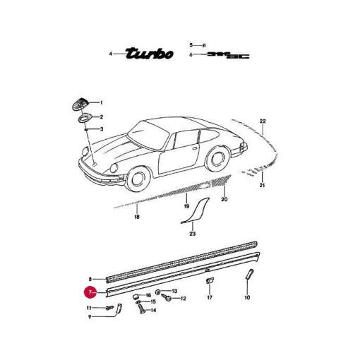 Porsche 930 Turbo Rocker Panels Red 93055904700