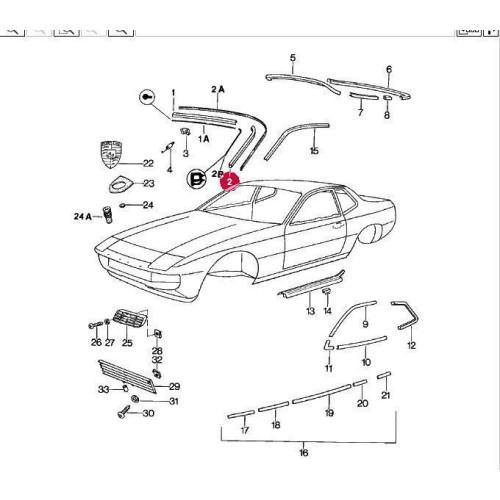 Porsche 924 Molding Body 94455904600